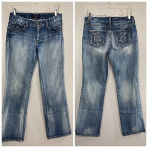 Seven7 Distressed Boot Cut Light Wash Jeans 4